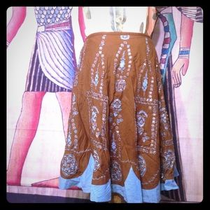 Turquoise & Brown Sequin Embellished Skirt Size 8